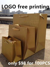 Wholesale 100PCS/LOT Gold With Film Paper Gift Bag 7 Size Included Free Design Print LOGO