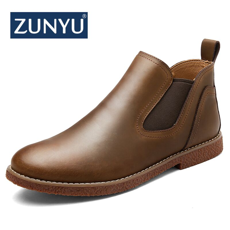 ZUNYU New Autumn/Winter Men's Chelsea Boots,Luxury British Style Fashion Ankle Boots,Black/Brown/Blue Soft Leather Casual Shoes zunyu new autumn winter men s chelsea boots luxury british style fashion ankle boots black brown blue soft leather casual shoes