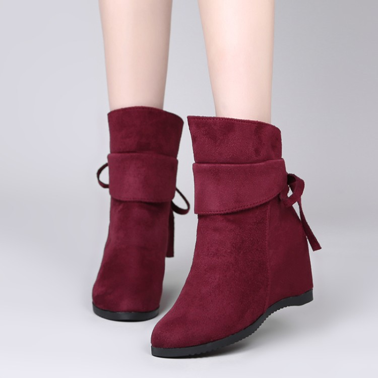 2019 New Fall Boots Women Within The Higher Slope With Boots Female Foot White Round Martin Boots Boots Tide Shoes Yhn89
