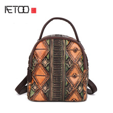 AETOO New retro cowhide women's shoulder bag casual leather multi-purpose small backpack shoulder bag