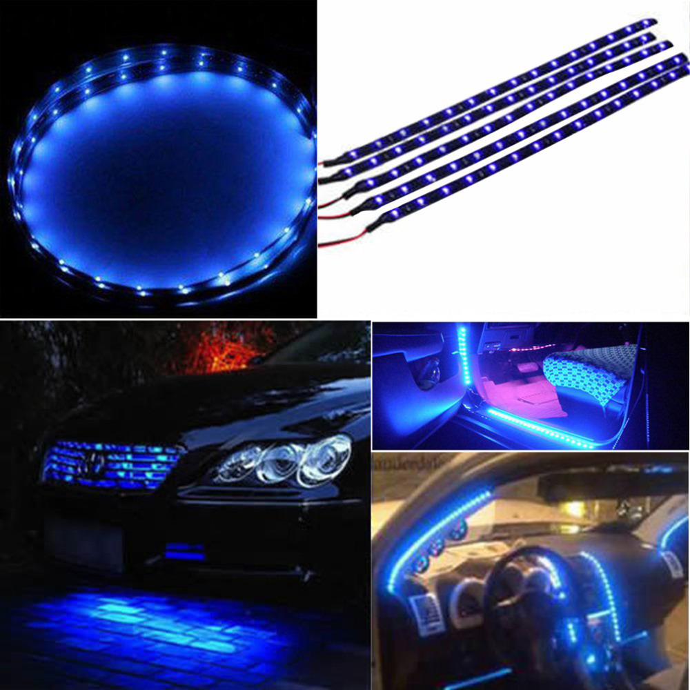 New Blue Light 30cm 15 LED Atmosphere Light Turn Signal Light Car Vehicle Motor Grill Flexible Light Strips 12V Hot Selling