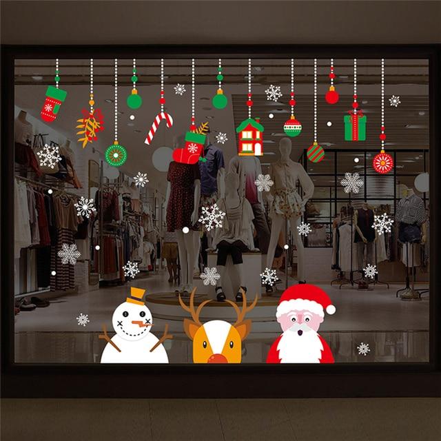 Снеговик новогодняя наклейка на окно рождественские украшения для гостиной Рождественский Санта-Клаус Снеговик Лось оконная наклейка s