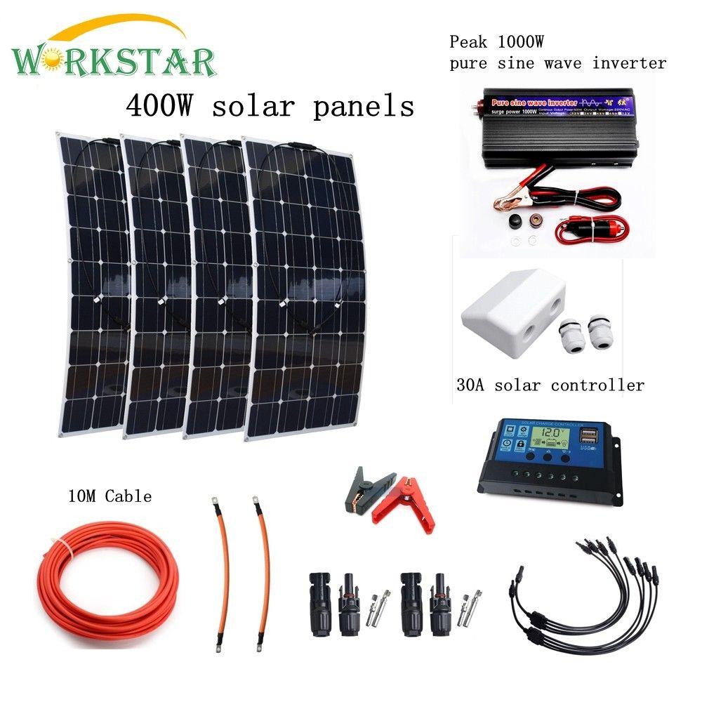 Completo 400 W Sistema Solare per Principianti 4X100 W Pannelli Solari 1000 w Inverter con Accessori di Montaggio Per Yacht CAMPER Barca