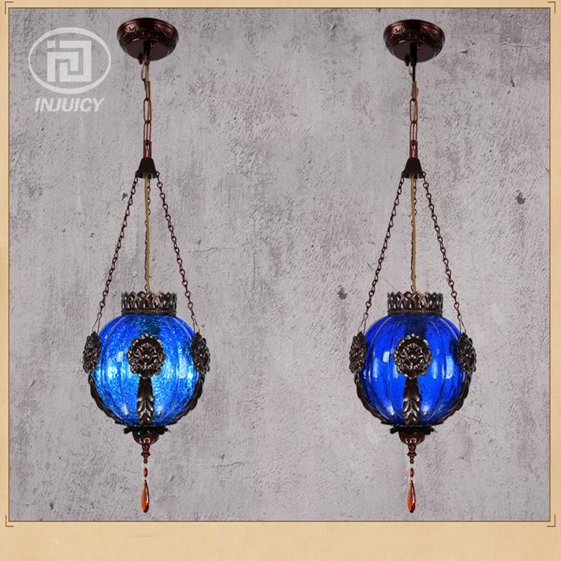 Loft Vintage Colourful Glass Pendant Lamp Southeast Asian Thai Style Lighting Restaurant Bar Bohemia Coffee Shop Store Droplight vintage loft industrial edison flower glass ceiling lamp droplight pendant hotel hallway store club cafe beside coffee shop