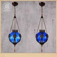 Loft W Stylu Vintage Kolorowe Szkło Lampa Wisząca Oświetlenia Restauracja Bar Czechy Tajski Styl Azji Południowo-wschodniej Kawiarnia Sklep Droplight