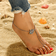 Retro Bohemian Beads Leaves Tassels Anklet Beach Feet Ladies Sandals Accessories New Products Long Chain Toe Foot Jewelry