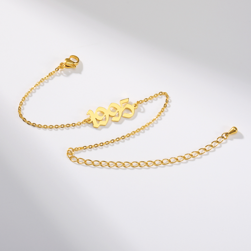 Old English Number Bracelet BFF Special Date Year Number Bracelets for Women Custom Jewelry 1980 to 2019 Birth Year Bracelet in Chain Link Bracelets from Jewelry Accessories
