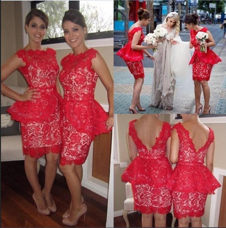 Popular red with a gold lace bridesmaid dresses buy cheap red with red lace short bridesmaid dresses goldpeachivorypinkchampagnesilver ombrellifo Gallery