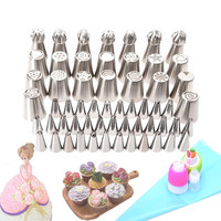 63pcs Set Stainless Steel Pastry Nozzles Cake Decorating Tools Russian Tips Icing Piping Pastry Tips Confectionery