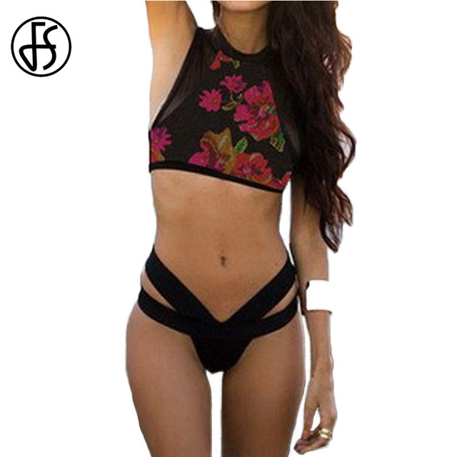 e5d96e6f23 FS Mesh Swimsuit Floral Print Swimwear Women Two Piece Bikinis Set High Neck  Back Zipper Padded Bandage Swimsuit Bathing Suit XL