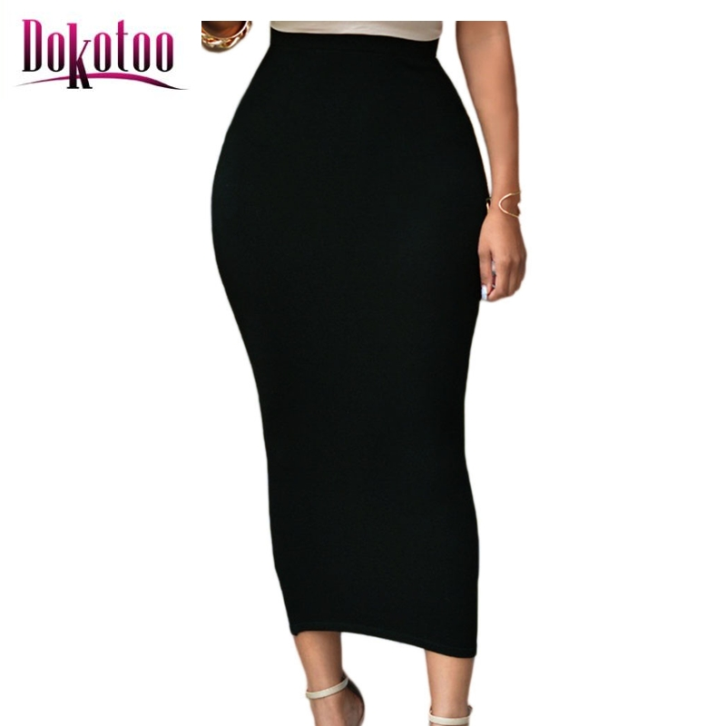 dokotoo solid black high waisted bodycon maxi skirt