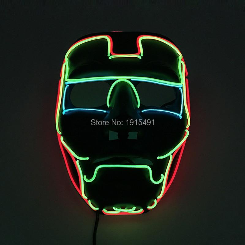 Superman Figure Masquerade Costume Led Glow Light Carnival Mask Music Concert Holiday Lights EL Cold Light Ironman Hero Mask