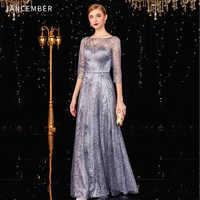 JANCEMBER elegante cocktail kleider Scoop A-LINIE Drei Viertel Ankle-Länge Backless Kristall Geraffte Neueste robe de soiree fille