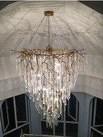 Phube освещение Дуплекс Здание лестницы хрустсветодио дный альная люстра LED люстра цветной глазурованной освещение Медь Цвет