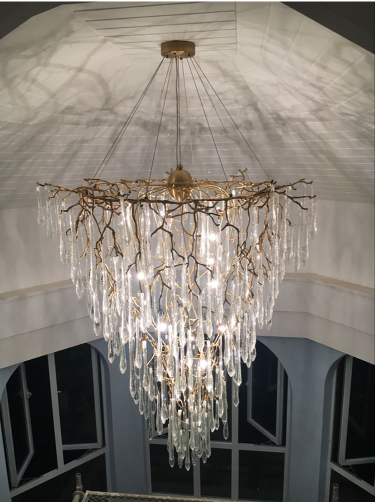 Phube Lighting Duplex Building Stair Crystal Chandelier