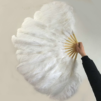 New! Big white Ostrich feathers double fan bamboo pole Halloween party decorations jewelry need 12 bones belly dance fan DIY