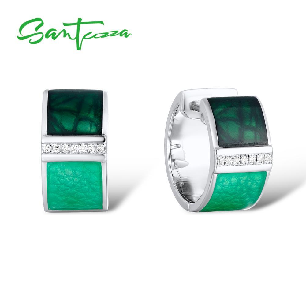 SANTUZZA Silver Earrings For Women Genuine 925 Sterling Silver Green Square Sparkling CZ Stud Chic Fine Jewelry Handmade Enamel