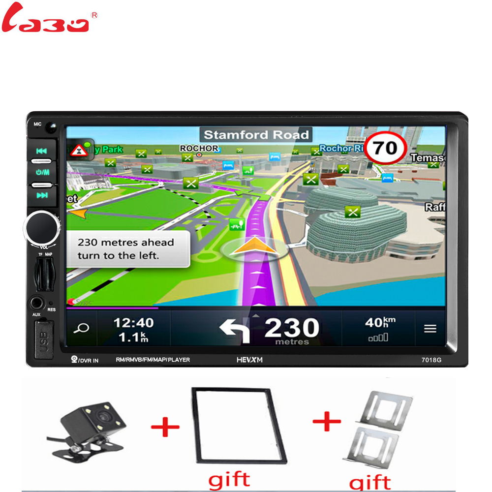 2Din Car <font><b>Radio</b></font> Player+GPS Navigation+Frame+Camera Map Autoradio 7 inch HD Bluetooth MP5 Audio Stereo USB AUX Auto Electronic image