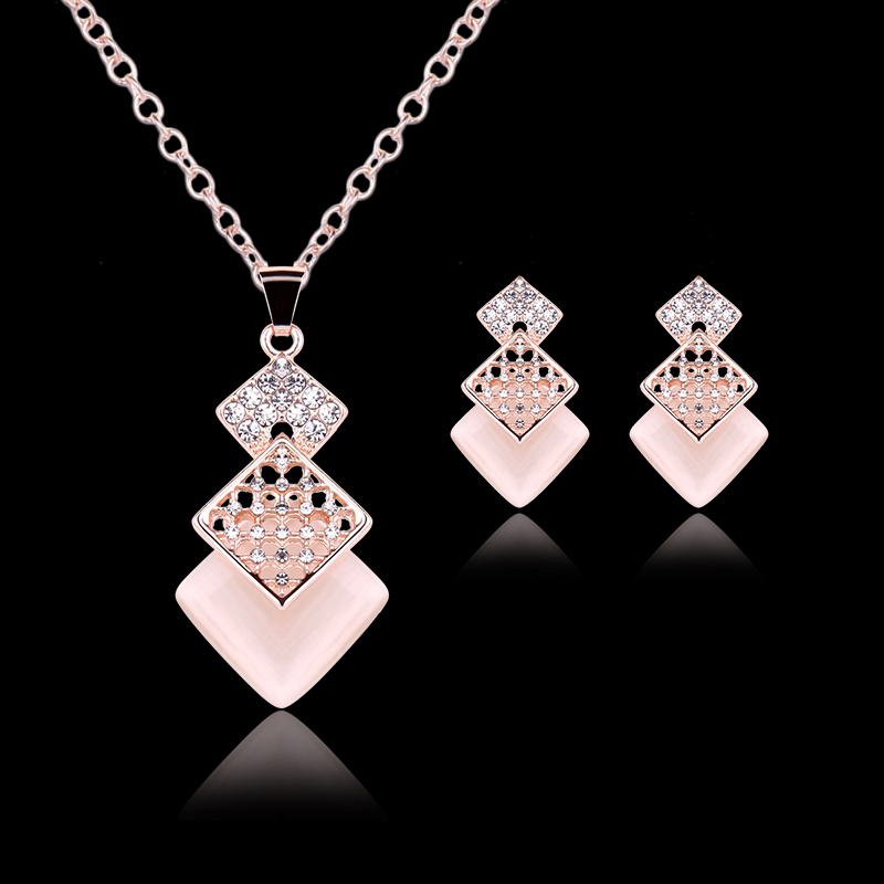 New Womens CZ Crystal Gold Plated Necklace Earring Bracelet Fashion Jewelry Set