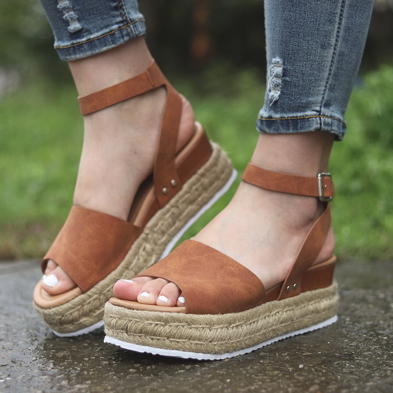 LASPERAL Summer Sandals Studded Ankle-Strap Rubber-Sole Open-Toe Woman Women's Casual