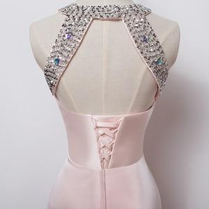 Image 5 - שמלת ערב 2020 משלוח חינם באורך רצפת סאטן סקסי פורמליות לנשף שמלות צד ארוך ערב שמלות