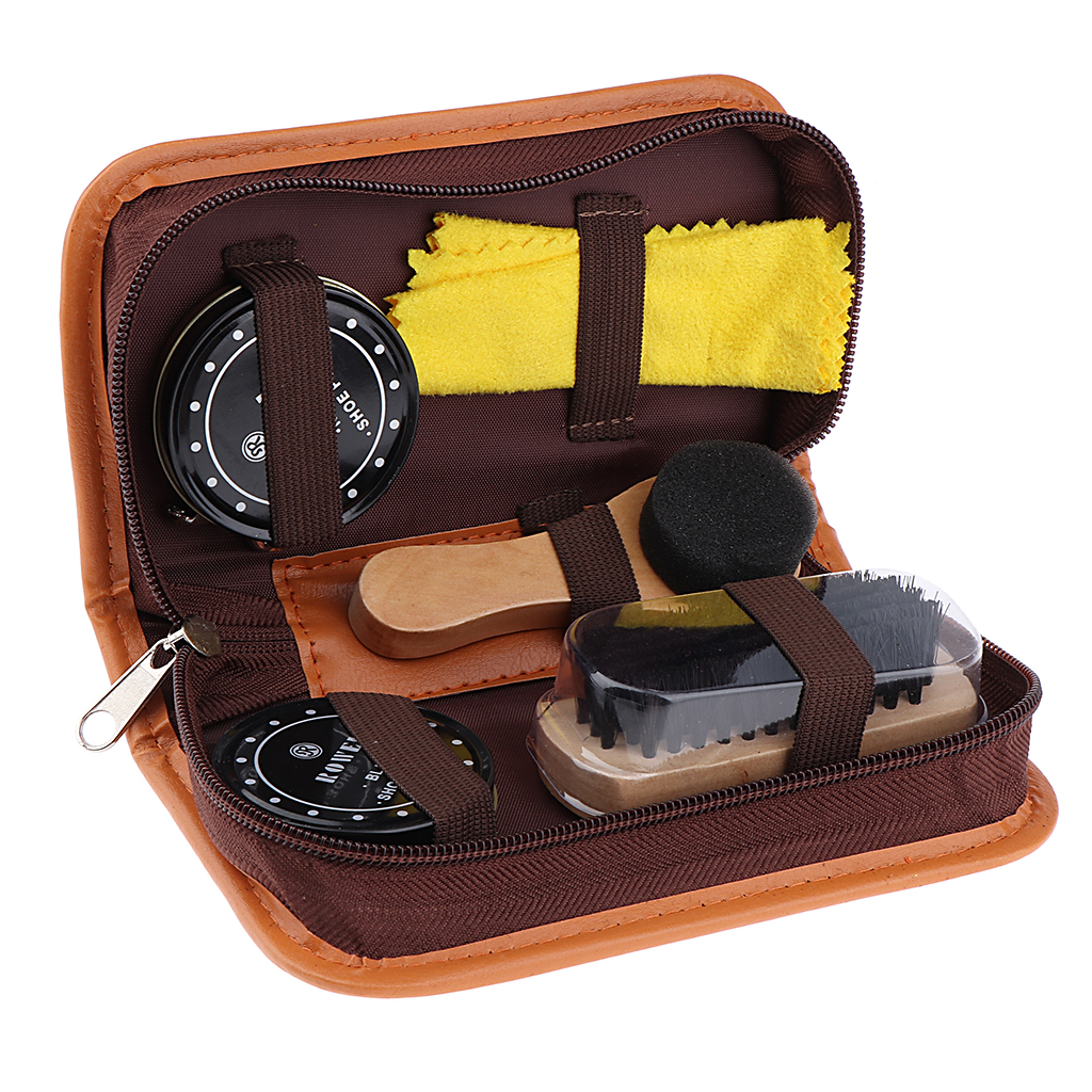 5 Pieces a Lot Shoes Care Kit with Case Shoe Polish Clean Cloth Tools