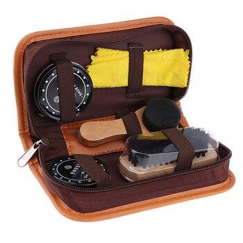 цена на 5 Pieces a Lot Shoes Care Kit with Case Shoe Polish Clean Cloth Shoe Care Tools