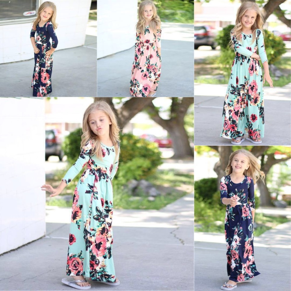 2018 New Girls Dress Baby Dresses Beach Bohemian Summer Floral Princess Party Long Sleeve Dress for Girl Girls Clothes kids dresses for girls fashion girls dresses summer 2016 floral bohemian girl dress princess novelty kids clothes girls clothes