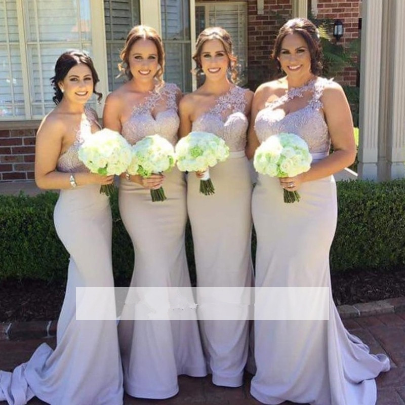 2019 Cheap   Bridesmaid     Dresses   Under 50 Mermaid One-shoulder Satin Appliques Lace Long Wedding Party   Dresses