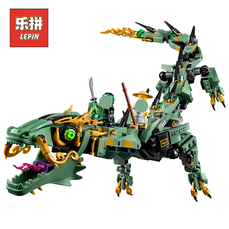 Lepin Ninja Series the Flying Mecha Green Dragon Set Figures Building Blocks Compatible Legoinglys Ninjagoinglys Children Toy new lepin 16009 1151pcs queen anne s revenge pirates of the caribbean building blocks set compatible legoed with 4195 children