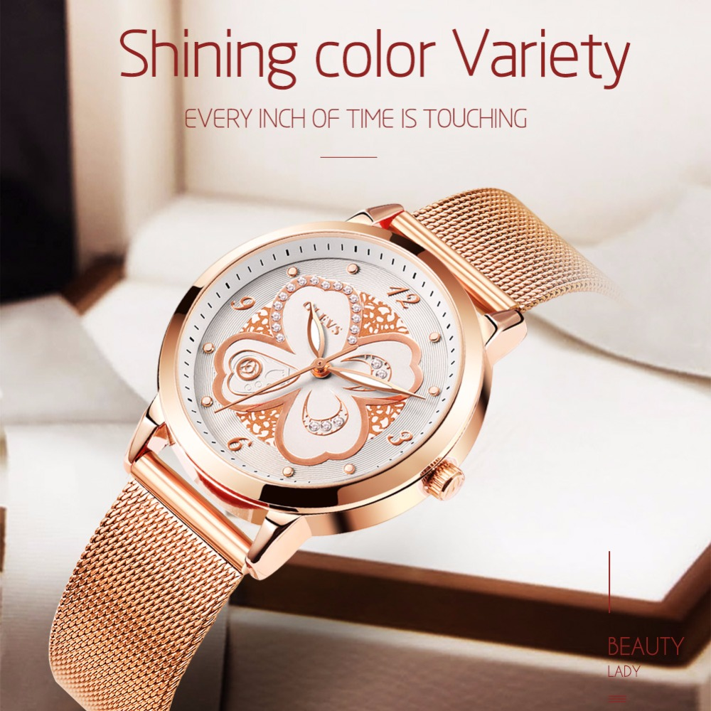 OLEVS Watch Women waterproof Luxury brand Rose Gold Milan Steel Strip Fashion Rhinestone Female Ladies watches relogio feminino