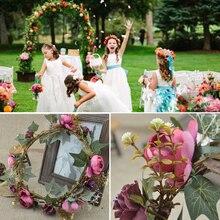 1pcs Artificial Roses flowers Bridal Headdress Floral Crown Handmade Children Wreath wedding decoration bridesmaid Hairband