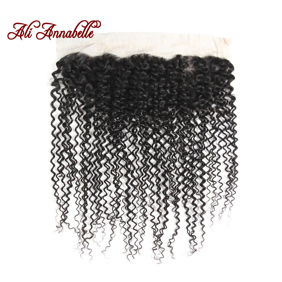 ALI ANNABELLE HAIR 13 4 Kinky Curly Pre Plucked Lace Frontal Free Part Closure Brazilian Remy