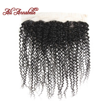 ALI ANNABELLE HAIR 13*4 Kinky Curly Pre Plucked Lace Frontal Free Part Closure Brazilian Remy Human Hair Natural Black Color