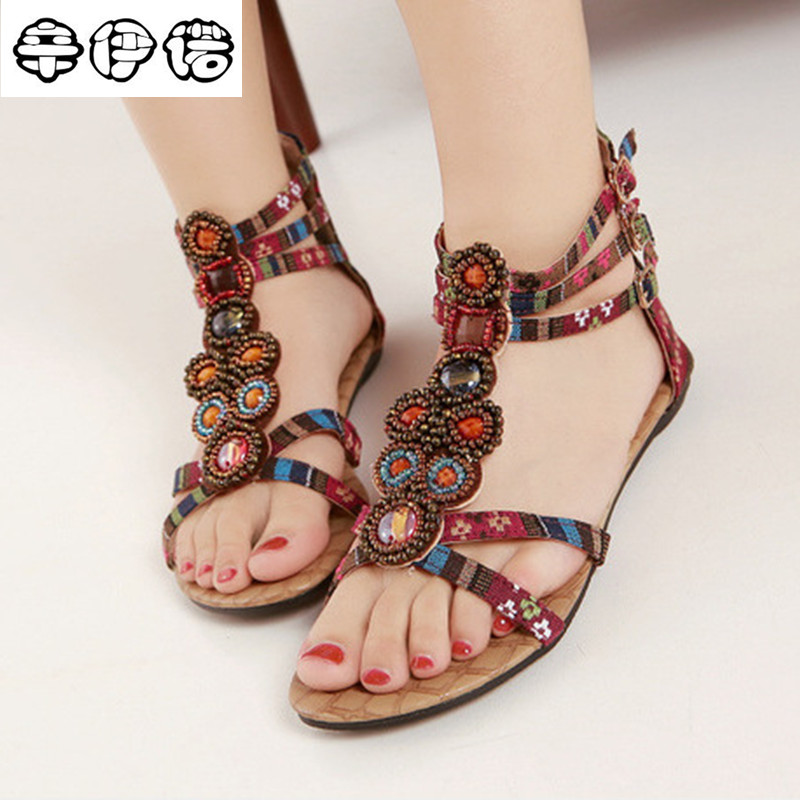 Hot Sale Summer Style Ethnic Women Sandals 2017 Bohemian Fashion Beading Pu Printed Casual Flats For Woman XYN798 hot sale halter beading sequins short homecoming dress