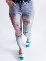 European Fashion Beauty Slim Stretch Feet Printing Bronzing oil painting colorful female street trends women Jeans