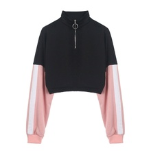 Zipper Pullover Long Sleeve Stitching Sweatshirt Sexy Plus Size Loose Middle Stand Collar Tops plus size merry christmas skew collar sweatshirt
