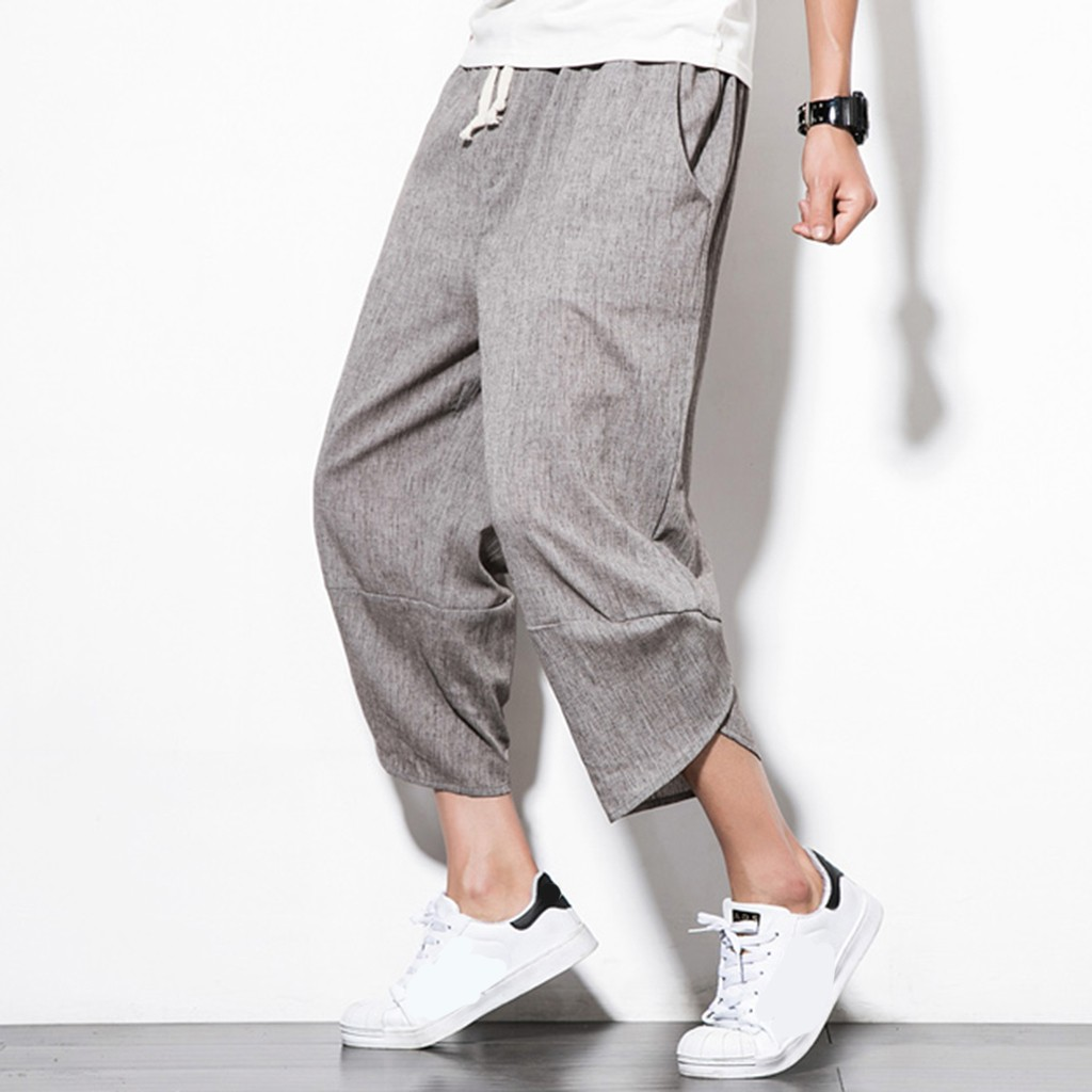 Overalls Cotton Linen Trousers Harem-Pants Chinese-Style Summer Casual New Calf Drawstring