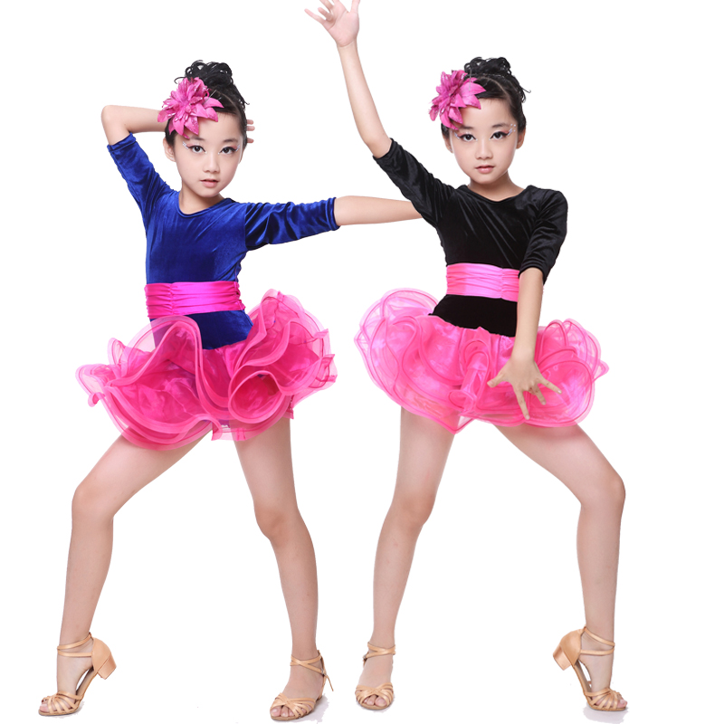 (10 Set) New Children's Latin Dance Dress Skirt Girl Latin Dance Exercise Skirts Prescribed Performance Competition Performance