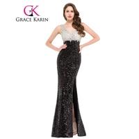 Sparkle Double V Neck Elegant Evening Gown Long Sheath Sequins Evening Dresses Black Formal Dresses Sexy