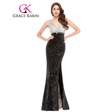 Grace Karin Mermaid Evening Dress Sparkle Black Evening Gowns Double V Neck Long Sequin Special Occasion Dresses Split 2017