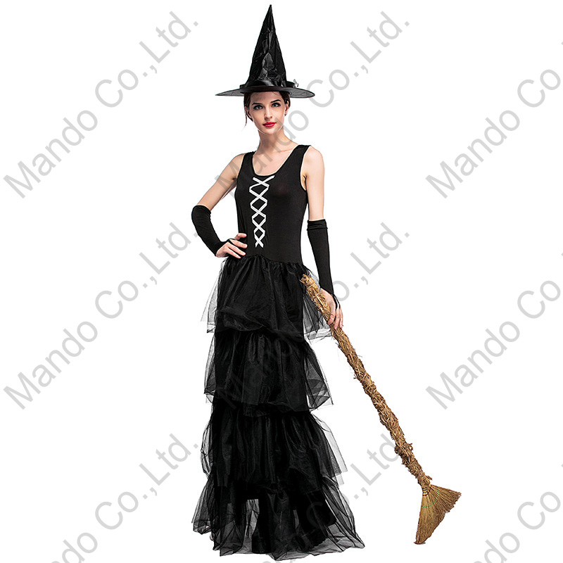 Girls Masquerade party costume Dresses New Arrived Black tiered skirt Women witch Sexy layered Dress Cosplay halloween