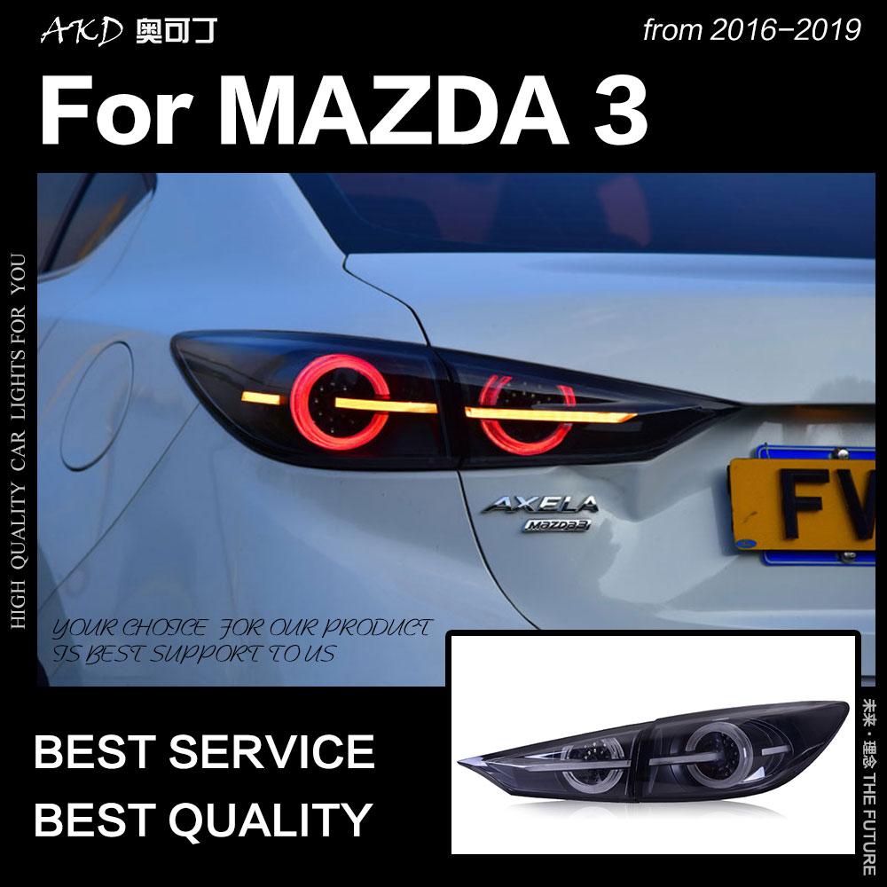 AKD Styling de Carro para Mazda 3 Luzes Da Cauda 2014-2018 Axela Mazda3 LED Cauda Sinal de Freio Lâmpada LED DRL reversa auto Acessórios