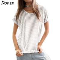 Woman Loose Tops 2017 New Fashion Summer Solid Cotton Tees Short Sleeve Black And White Striped