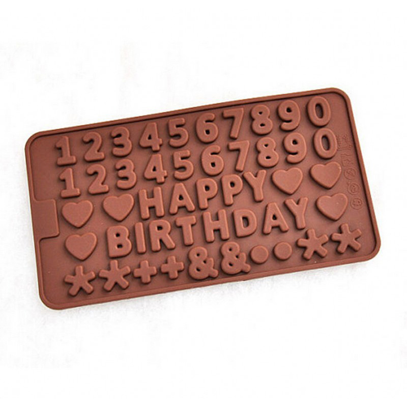 FILBAKE Bakeware DIY Cake Tools Happy Brithday Letters Numbers Symbols Heart Shape Mold for Ice Chocolate Decorating Silicone
