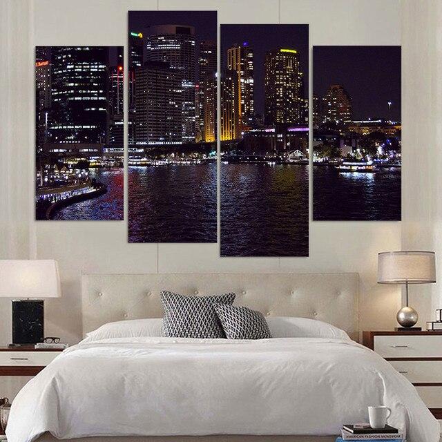 Canvas Painting 4 Piece Art Sydney Australia Night HD Printed Home Decor Wall Poster