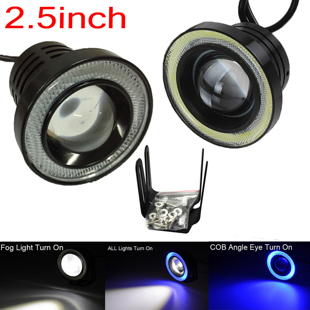 2 Pcs /Set Universal 12V 20W 2.5Inch Car Fog Light COB LED Projector Blue Halo Ring DRL Driving Bulbs Angel Eye Fog Lights 2017 new 2 5 30w car angel eye cob halo ring led drl projector lens driving light 12v 24v drop shippping