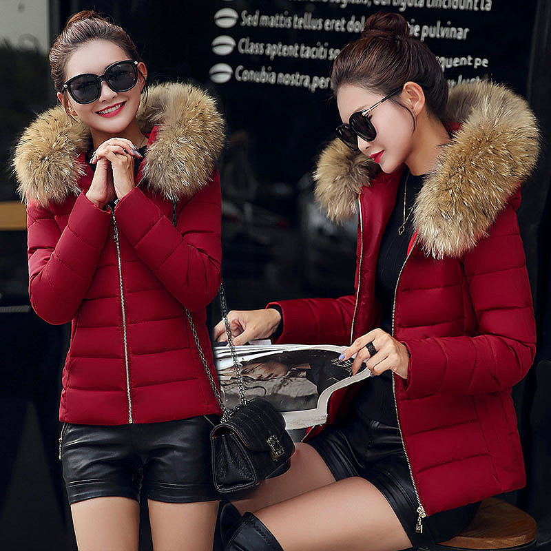 Winter Short   Coat   Women Thick Warm   Down   Cotton Jacket Woman Hooded Fur Collar jaket women   coats   chaquetas mujer invierno 2018