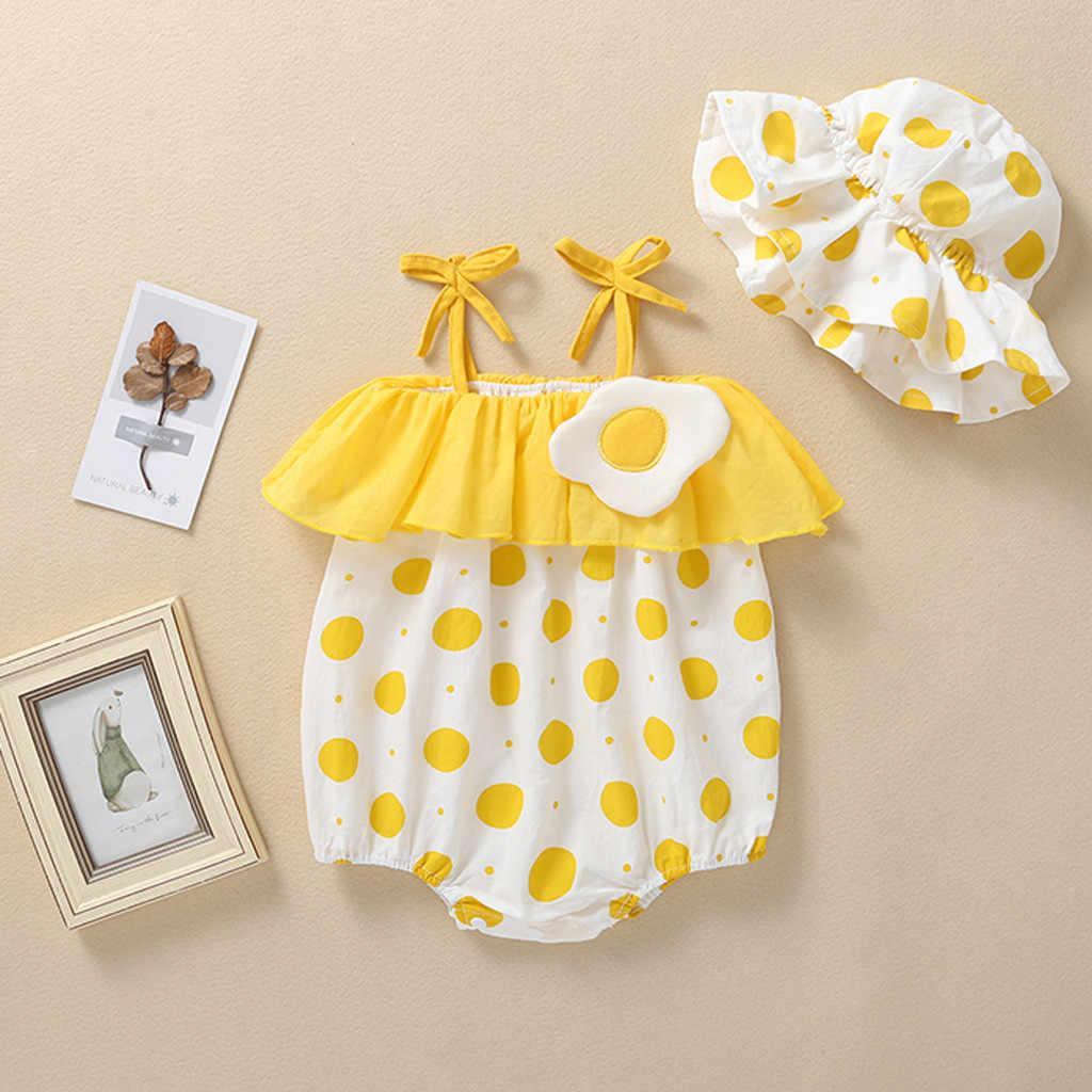 Muqgew для новорожденных Одежда для маленьких девочек Комбинезон ремни комнибензонов с оборками в горошек Панамка Одежда для новорожденных Ползунки Детские комбинезоны