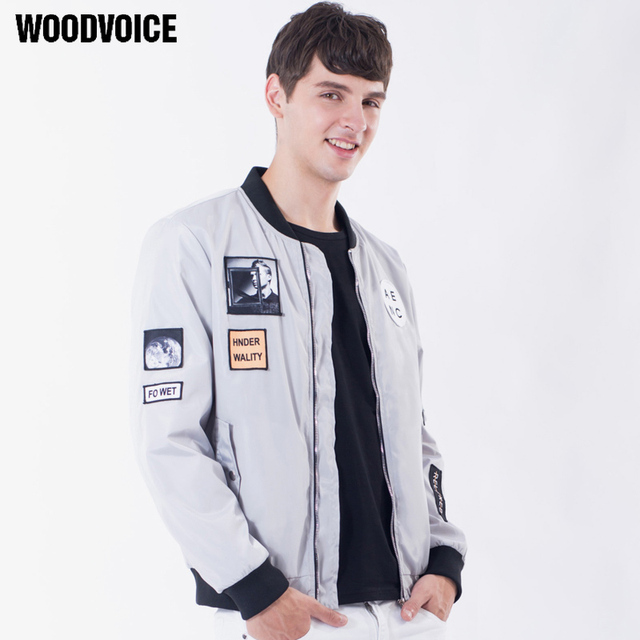 Woodvoice 2017 Atumn Fashion Trend Stand Collar Flight Coat Outwear Brand Clothing Pilot Jacket Flying Air Coat Free Shipping
